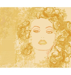 Abstract Beautiful Woman portrait poster vector image