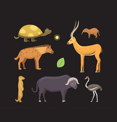 African animals cartoon set safari vector