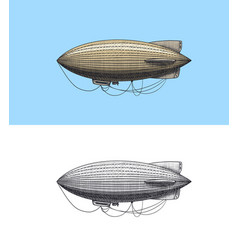 airship or zeppelin and dirigible or blimp vector image