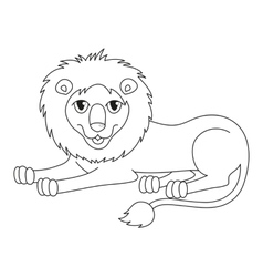 Amusing cartoon lion regally lying coloring book vector