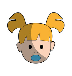 Beauty baby girl face with hairstyle vector