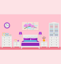 bedroom hotel room interior with bed vector image
