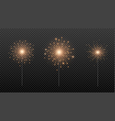 bengal fire sparkler lights isolated on vector image