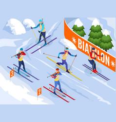 Biathlon isometric background vector
