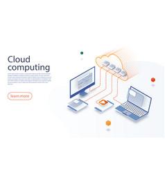 Big data flow processing concept cloud technology vector