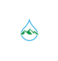 big mountains and snow in a drop of water for vector image