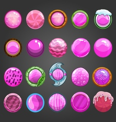 Big set of round pink button vector