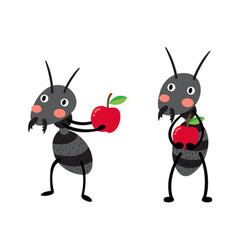 Black ants with red apples vector