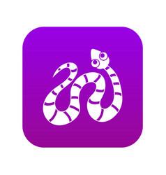 Black striped snake icon digital purple vector