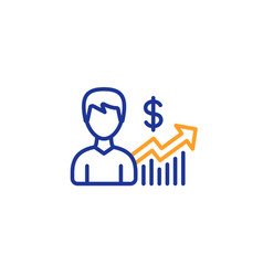 Business results line icon dollar sign vector