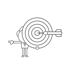 businessman character holding bulls eye with dart vector image