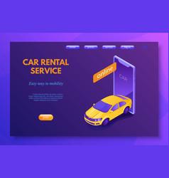 car rental service landing page template vector image
