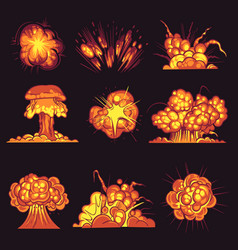 Cartoon explosions bomb explosion fire bang with vector