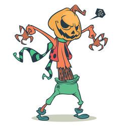 Cartoon pumpkin head scarecrow vector