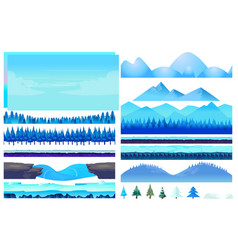 cartoon winter game nature elements set vector image