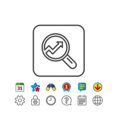 Chart line icon report graph sign in magnifier vector