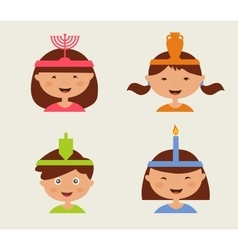Children celebrating Hanukkah vector