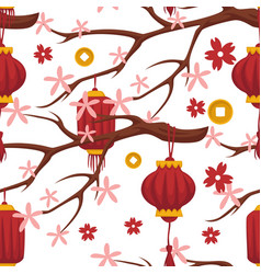 Chinese tree blossom and red lanterns designs vector