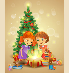 Christmas miracle - girls opening a magic gift vector