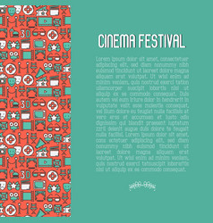 cinema festival concept with thin line icons vector image