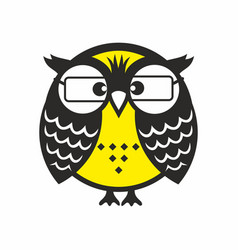 Clever owl with glasses vector