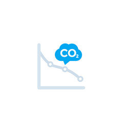 Co2 carbon emissions reduction icon with graph vector