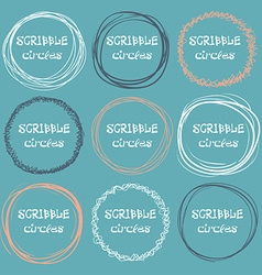 Collection of hand-drawn scribble circles on a vector