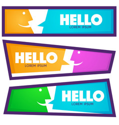 collection of hello communication horizontal web vector image