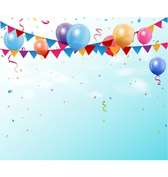 Colorful birthday bunting flags and balloons with vector image