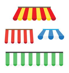 Colorful set of striped awnings vector
