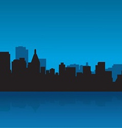 Contour of the big city against the ocean vector image
