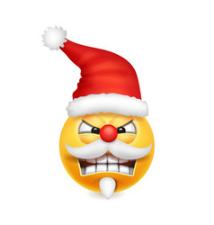 cute angry santa claus smile emoji icon emoticon vector image