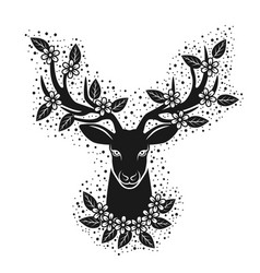 deer head silhouette in blooming flowers design vector image