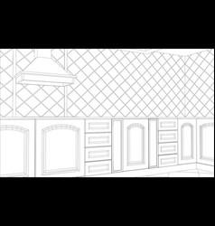 Design kitchen in outline vector