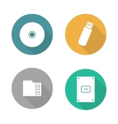 Digital data storage devices flat design icons set vector image