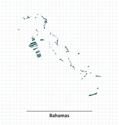Doodle sketch of Bahamas map vector
