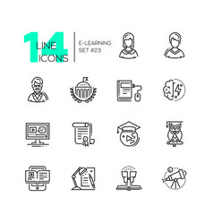 elearning- modern single line icons set vector image