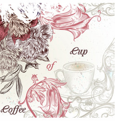 elegant coffee background with flowers vector image