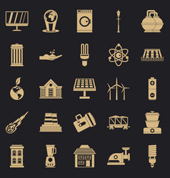 Energy transfer icons set simple style vector