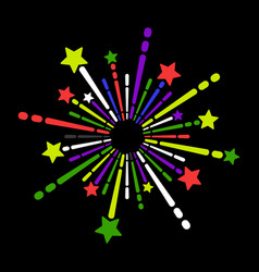 exploding fireworks icon on black background vector image