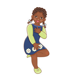 Flat african black girl dancing in dress vector