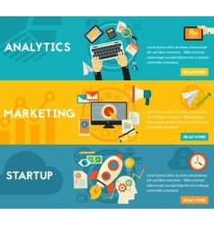 Flat concept banners Marketing Analytics vector