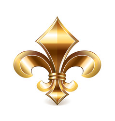 Fleur de lis gold isolated on white vector image