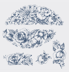 floral graphic design elements in vintage style vector image