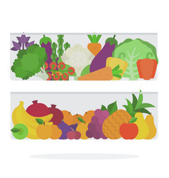 Fruits and vegetables in refrigerator drawer vector
