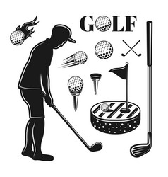 golf and golfing objects or design elements vector image