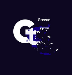 Greece initial letter country with map and flag vector