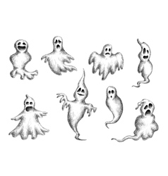 Halloween flying spooks and ghosts vector