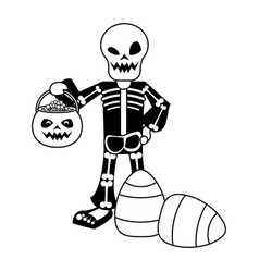Halloween skull costume with sweet candies vector
