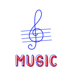 hand draw treble clef icon in doodle style vector image